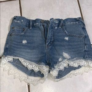 Free people lace and denim shorts